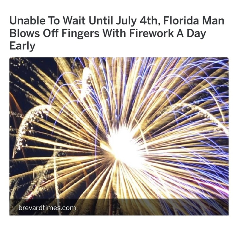 Florida man blows of fingers with fireworks a day before 4th of july