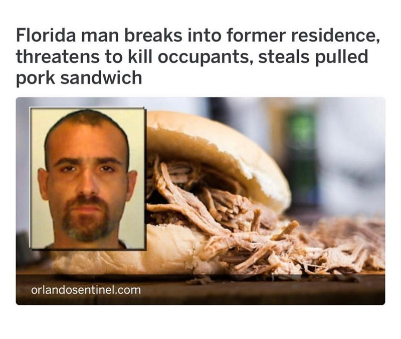 Florida man steals a pulled pork sandwich from a home