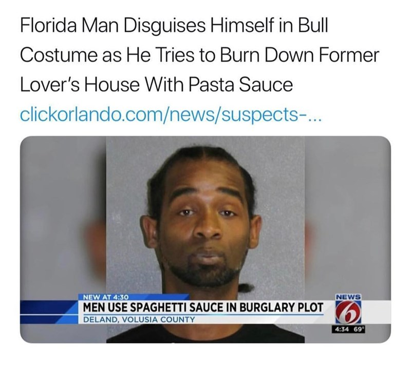 Florida man dresses in a bull costume to burn down former lovers home with pasta sauce