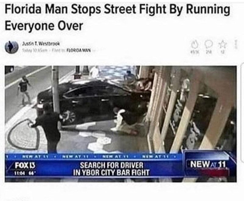 Florida man runs over people to stop a street fight
