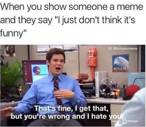 """Job - When you show someone a meme and they say """"I just don't think it's funny"""" 1G: @fvckyouneme 50AR That's fine, I get that, but you're wrong and I hate you cOM TYRIES"""