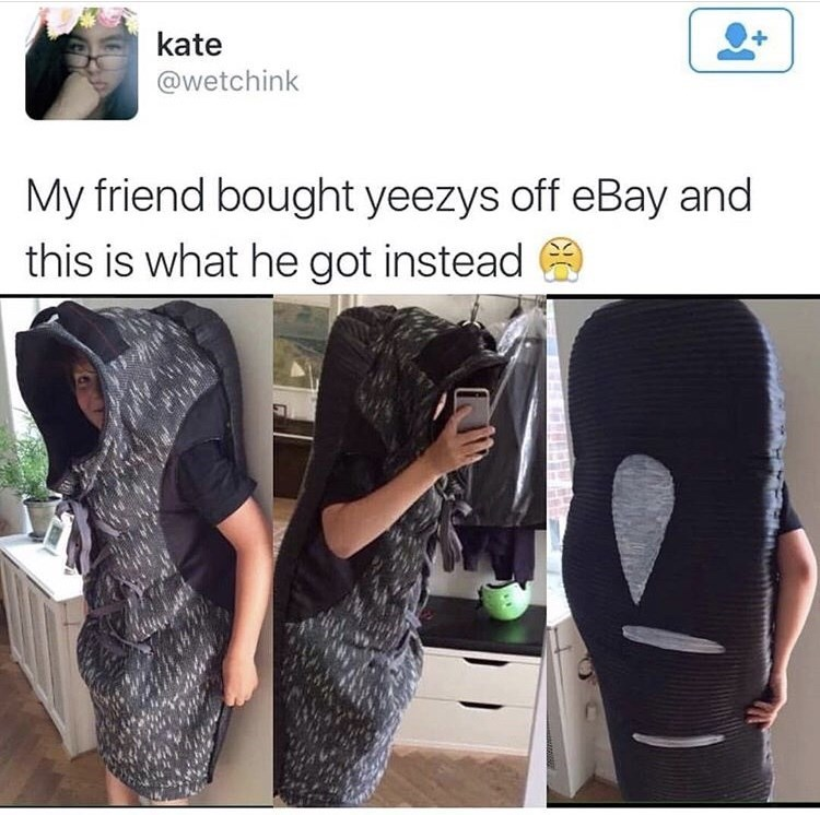 Kid ordered Yeezy slides off Ebay and it ended up being as big as a sleeping bag