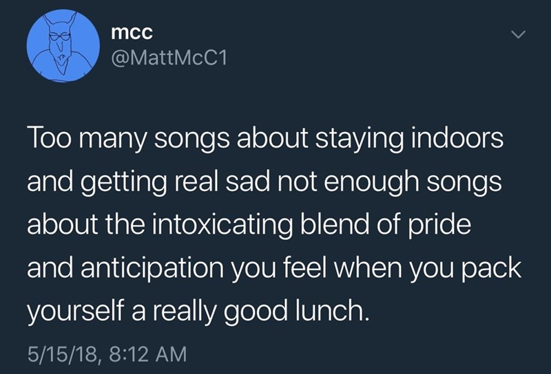 Text - mcc @MattMcC1 many songs about staying indoors and getting real sad not enough songs Too about the intoxicating blend of pride and anticipation you feel when you pack yourself a really good lunch. 5/15/18, 8:12 AM