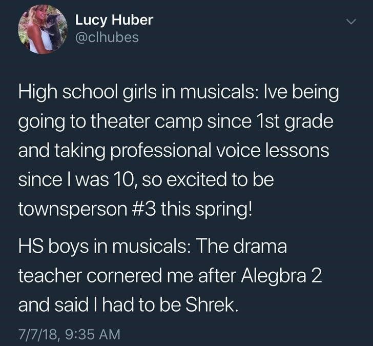 Text - Lucy Huber @clhubes High school girls in musicals: Ive being going to theater camp since 1st grade and taking professional voice lessons since I was 10, so excited to be townsperson #3 this spring! HS boys in musicals: The drama teacher cornered me after Alegbra 2 and said I had to be Shrek. 7/7/18, 9:35 AM