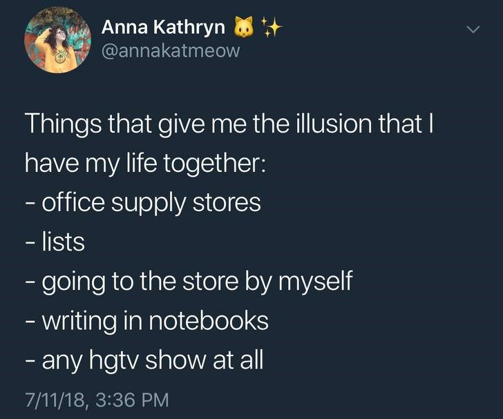 Text - Anna Kathryn @annakatmeow Things that give me the illusion that I have my life together: - office supply stores - lists -going to the store by myself writing in notebooks -any hgtv show at all 7/11/18, 3:36 PM