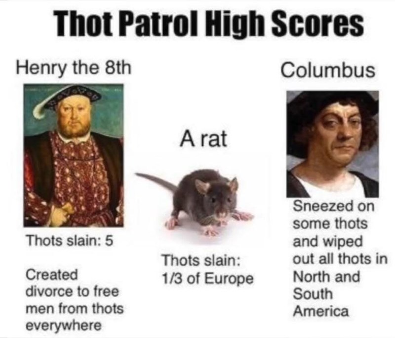 Text - Thot Patrol High Scores Henry the 8th Columbus A rat Sneezed on some thots and wiped out all thots in North and South America Thots slain: 5 Thots slain: Created divorce to free men from thots 1/3 of Europe everywhere