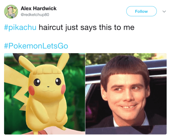 Tweet comparing Pikachu's haircut to Jim Carey's from 'Dumb and Dumber'