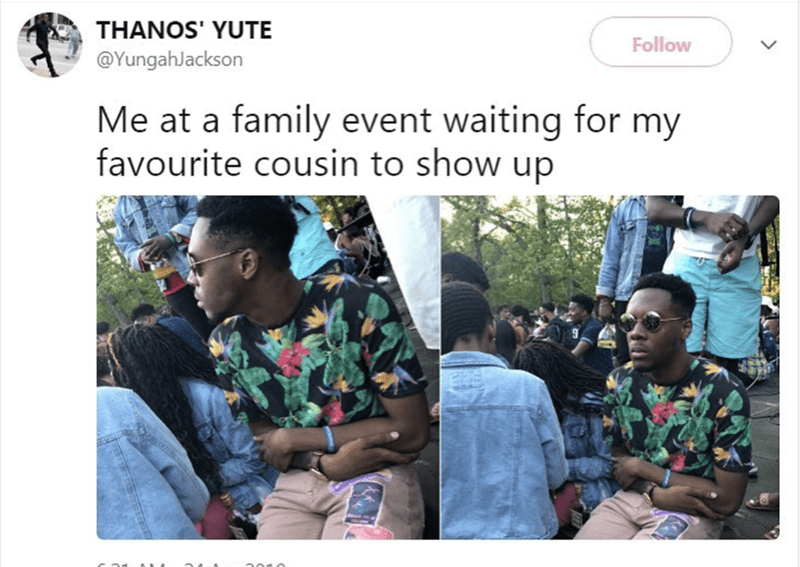 People - THANOS' YUTE Follow @YungahJackson Me at a family event waiting for my favourite cousin to show up