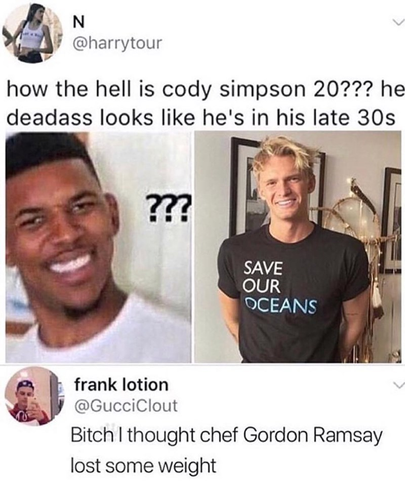 Funny meme about gordon ramsay losing weight.