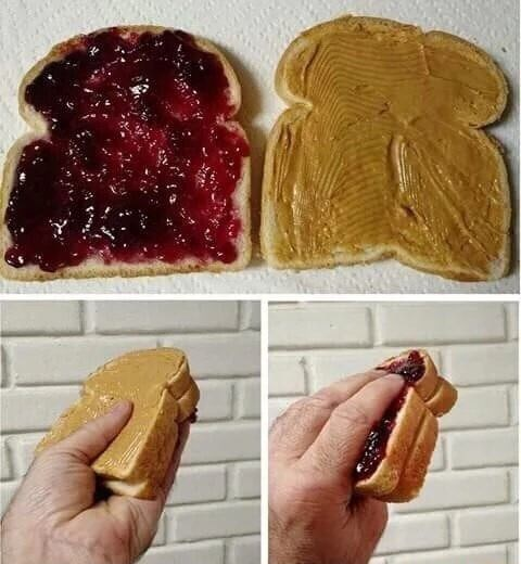 cursed image - reverse peanut butter and jelly sandwich causes much anxiety