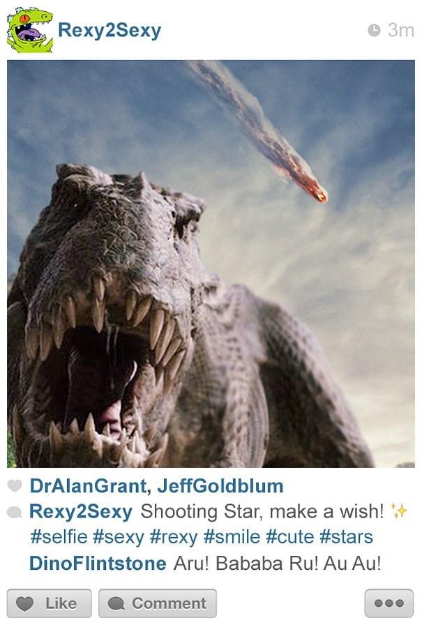 Text - Rexy2Sexy 3m DrAlanGrant, JeffGoldblum Rexy2Sexy Shooting Star, make a wish! #selfie #sexy #rexy #smile #cute #stars DinoFlintstone Aru! Bababa Ru! Au Au! Like Comment