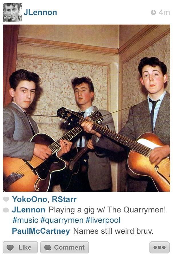 String instrument - JLennon 4m YokoOno, RStarr JLennon Playing a gig w/ The Quarrymen! #music #quarrymen #liverpool PaulMcCartney Names still weird bruv. Like Comment