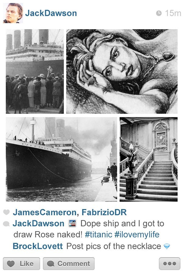 Stock photography - JackDawson 15m JamesCameron, FabrizioDR JackDawson Dope ship and I got to draw Rose naked! #titanic #ilovemylife BrockLovett Post pics of the necklace Like Comment