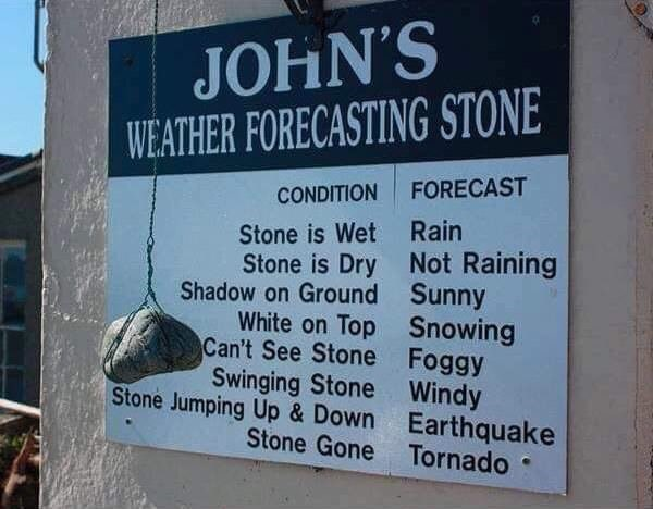 'Weather forecasting stone' that 'predicts' weather that's already happening