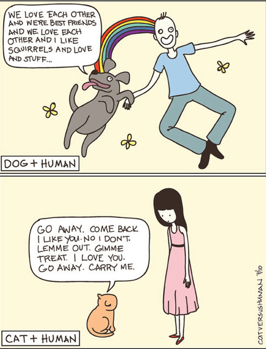Cartoon - WE LOVE EACH OTHER AND WERE BEST FRIENDS AND WE LOVE EACH OTHER ANDI LIKE SaUIRRELS AND LOVE AND STUFF... DOG+ HUMAN GO AWAY. COME BACK I LIKE YOu NO IDONT LEMME OUT. GIMME TREATI LOVE YOU Go AWAY. CARRY ME CAT+ HUMAN COTVERSUSHMMAN o
