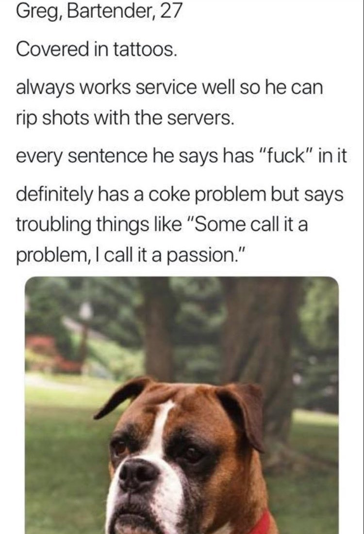 """work meme - Dog - Greg, Bartender, 27 Covered in tattoos. always works service well so he can rip shots with the servers. every sentence he says has """"fuck"""" in it definitely has a coke problem but says troubling things like """"Some call it a problem, I call it a passion."""""""