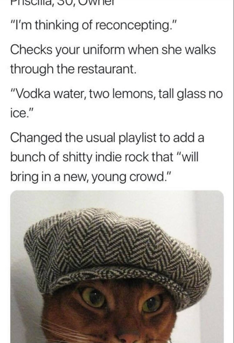 """work meme - Text - """"I'm thinking of reconcepting."""" Checks your uniform when she walks through the restaurant. """"Vodka water, two lemons, tall glass no ice."""" Changed the usual playlist to add a bunch of shitty indie rock that """"will bring in a new, young crowd."""""""