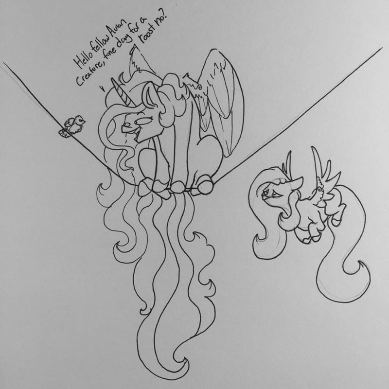 princess celestia fluttershy greyscale - 9190125056