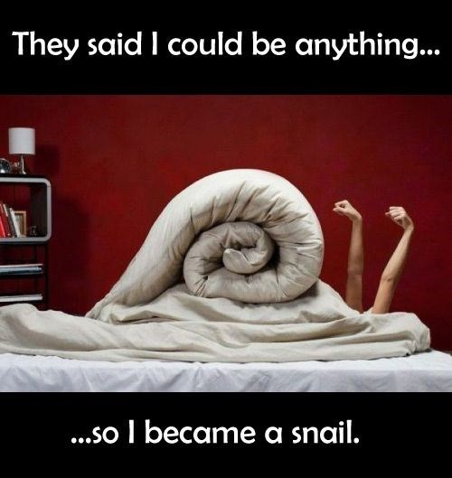 snail meme - Text - They said I could be anything... ...so I became a snail.