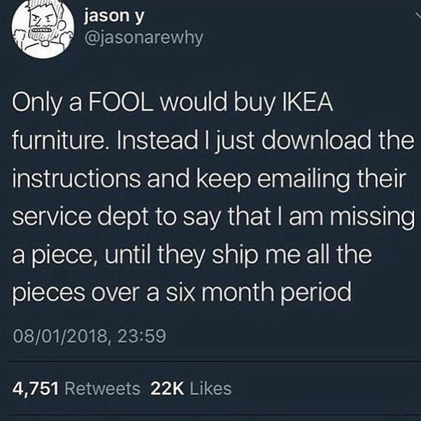 Funny meme about Ikea furniture.