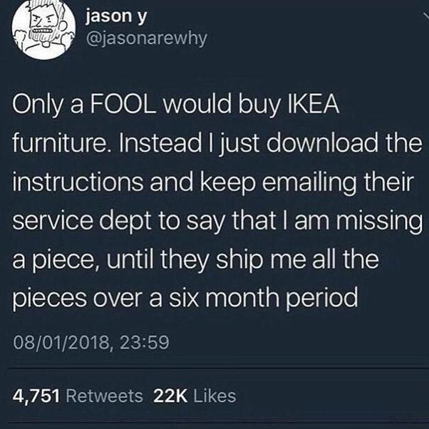 Funny meme about Ikea furniture.