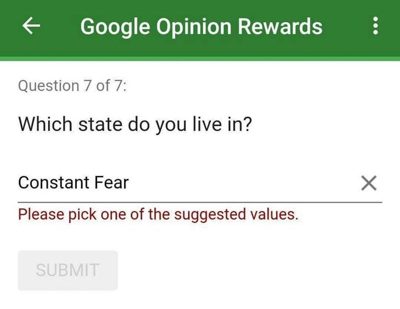 Text - Google Opinion Rewards Question 7 of 7: Which state do you live in? X Constant Fear Please pick one of the suggested values. SUBMIT
