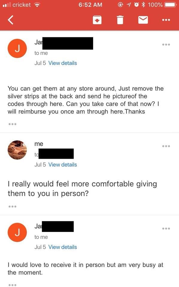Scammer asks if woman will send photos of the codes and she asks if she could just give them in person instead