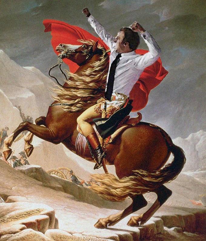 Macron on a horse as Napoleon Bonaparte