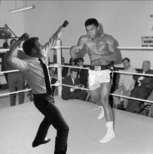 Macron fighting Mohammed Ali in the ring