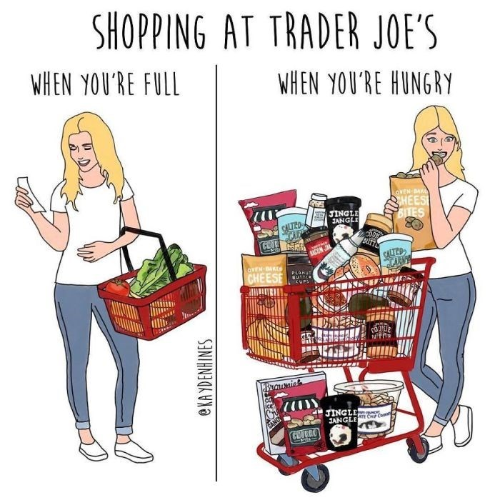 Shopping cart - SHOPPING AT TRADER JOE'S WHEN YOU'RE FULL WHEN YOU'RE HUNGRY OVEN-BAKE HEES BTES JINGLE JANGLE BUTT CEVE SALTED CARN CON OYEN-BAKES CHEESE PLANUT BUTT CUPS NTR Branic JINGLE ce ANGLE CEURRO eKA YDENHINES 88