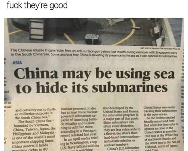 China hiding sea to hid their submarines