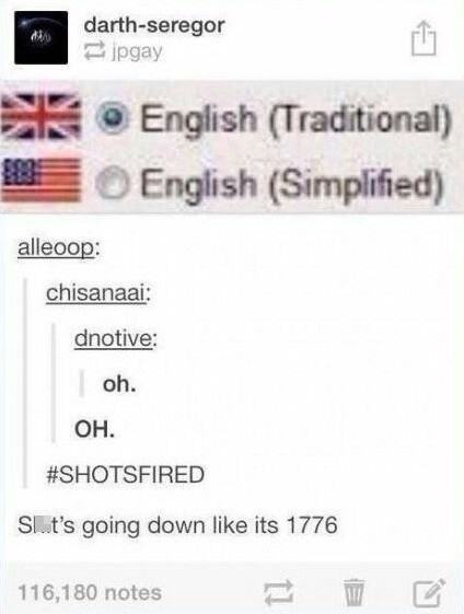 shots fired meme about traditional british english of simplified