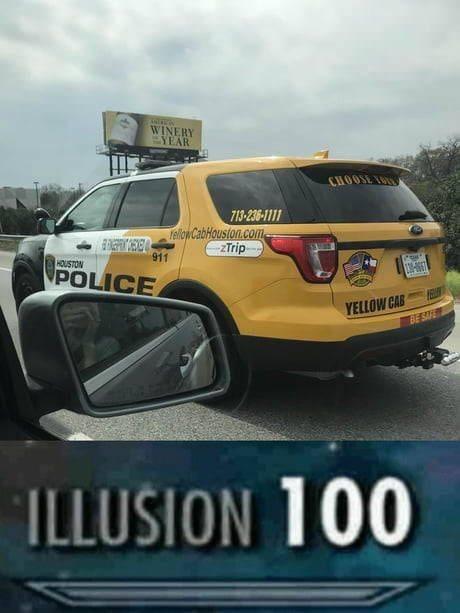 police cab illusion 100 meme