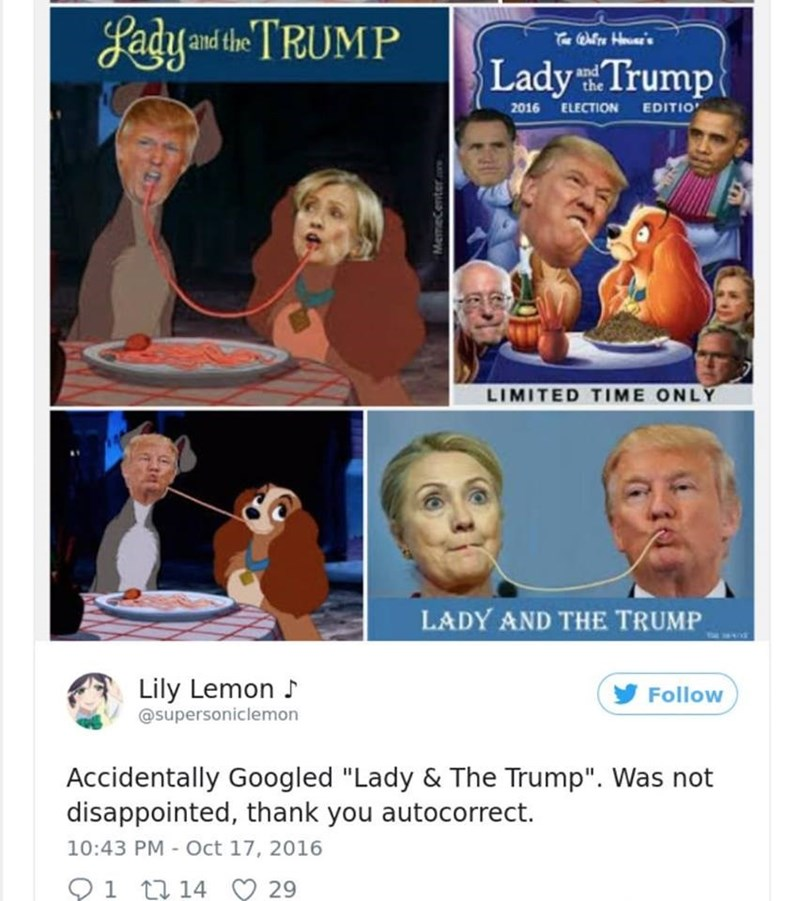 """Facial expression - gadyand the TRUMP rOre H Lady Trump and the 2016 ELECTION EDITIO LIMITED TIME ONLY LADY AND THE TRUMP Lily Lemon Follow @supersoniclemon Accidentally Googled """"Lady & The Trump"""". Was not disappointed, thank you autocorrect. 10:43 PM - Oct 17, 2016 1 14 29 Memecenterc"""
