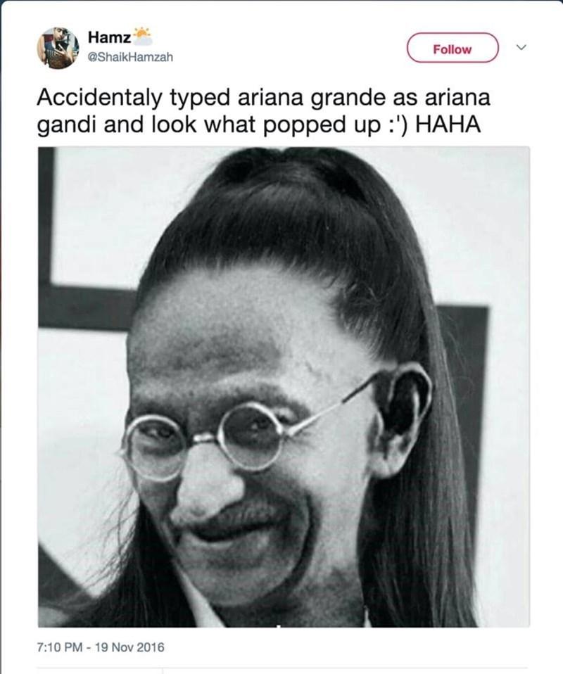 Hair - Hamz Follow @ShaikHamzah Accidentaly typed ariana grande as ariana gandi and look what popped up :') HAHA 7:10 PM-19 Nov 2016