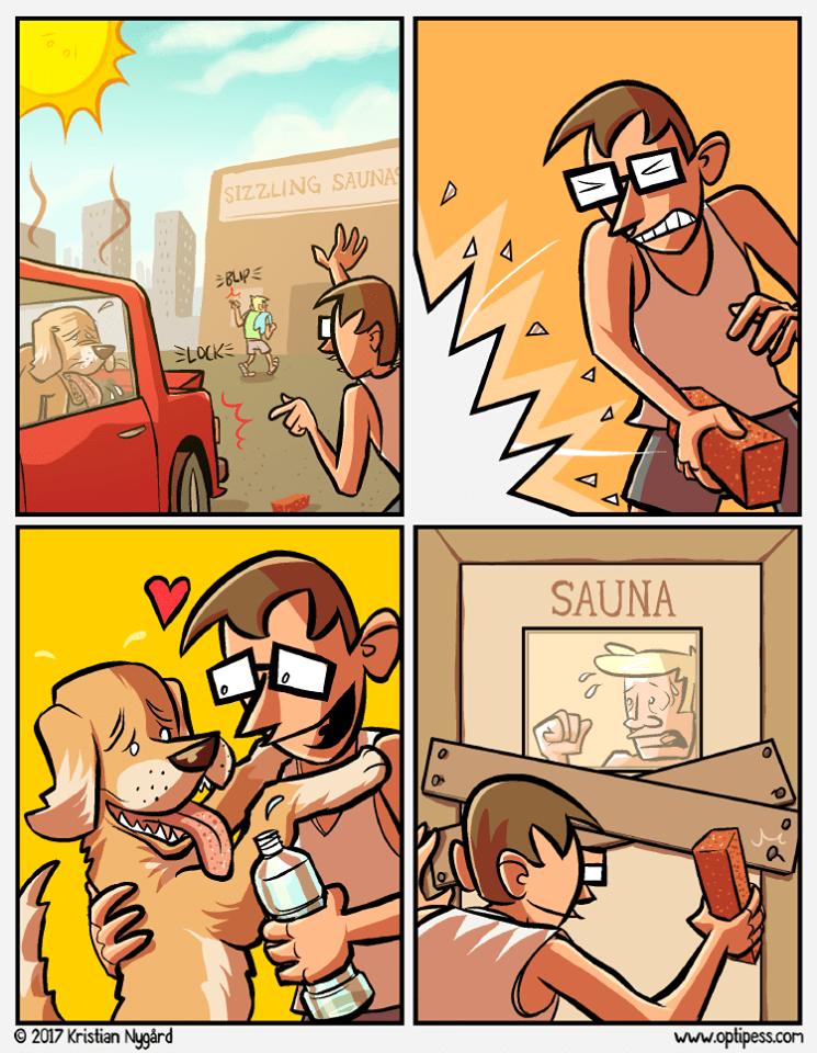 cuando ves a un perro encerrado en un carro