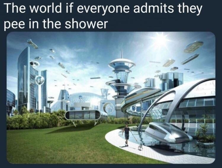 Funny meme about how we would be more advanced if everyone admitted to peeing in the shower.