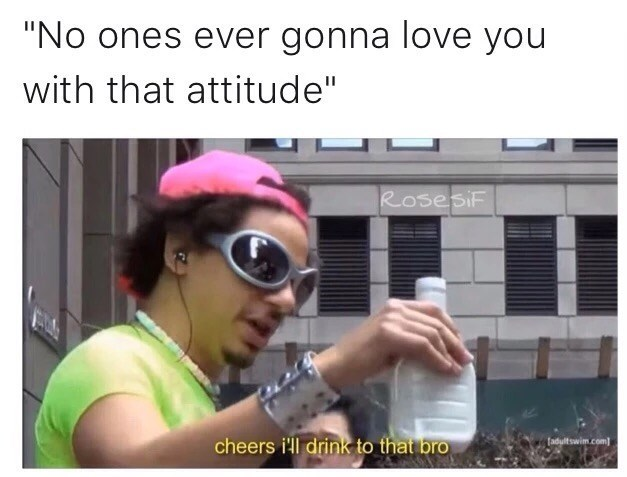 """Text - """"No ones ever gonna love you with that attitude"""" RosesiF cheers i'll drink to that bro fadultswim.com"""