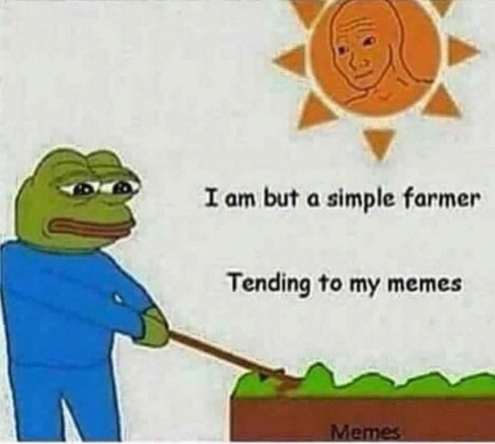 Cartoon - I am but a simple farmer Tending to my memes Memes