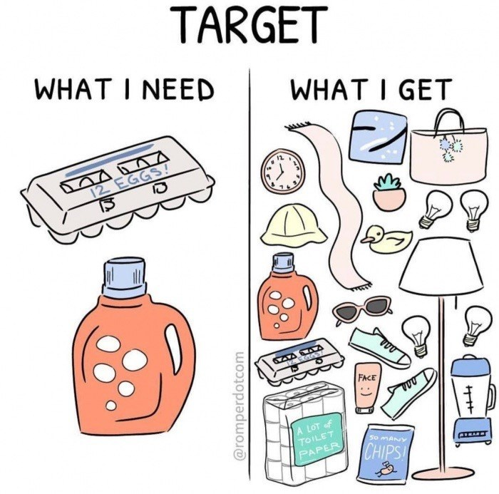 Design - TARGET WHAT I NEED WHAT I GET 12 EGGS! 1 EGGS FACE A LOT of TOILET 50 MANY CHIPS PAPER @romperdotcom