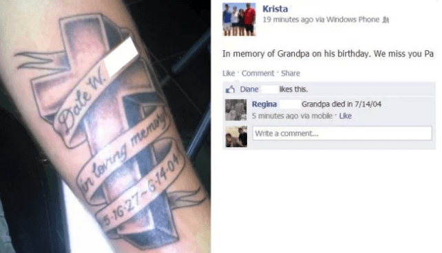 Tattoo fail of wrong passing date in a tattoo done in memory of grandpa