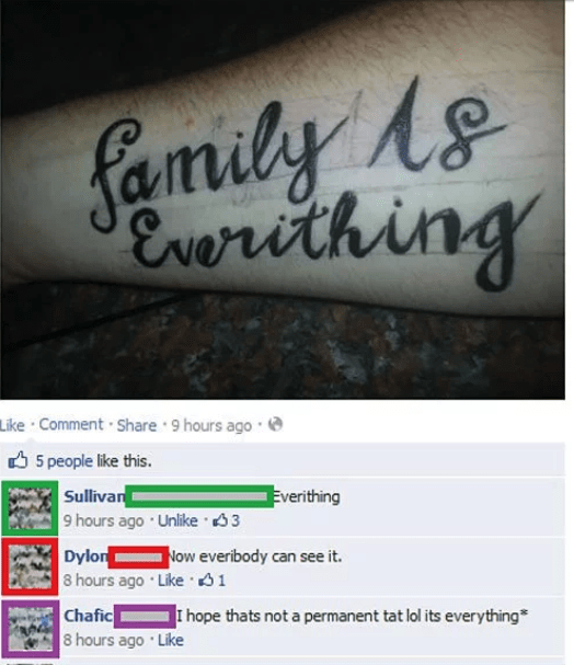 """Tattoo fail misspelling the word """"everything"""""""