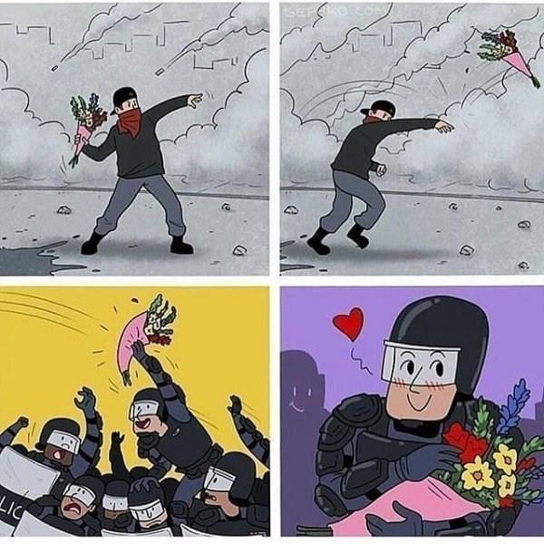 cuando en una protesta botan flores