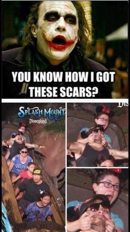 Funny meme about joker's scars, splash mountain.