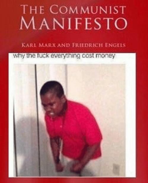 "Meme of boy saying, ""Why the fuck everything cost money"" stylized like The Communist Manifesto"