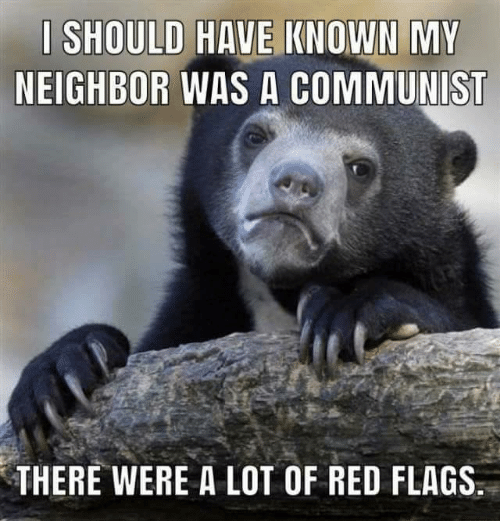 """Confession Bear meme that reads, """"I should have known my neighbor was a communist - there were a lot of red flags"""""""