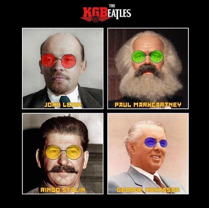 communist meme - Hair - THE KGBEATLES PAUL MARHEARTNEY JOHN LENIN RINGO STALIN GEORGE HOHHASON