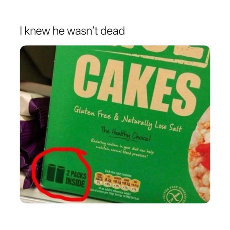 """Pic of a package of cakes that says, """"Two packs inside"""" with the caption, """"I knew he wasn't dead,"""" referring to Tupac"""