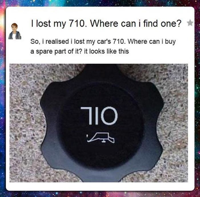 meme about looking for car replacement part that is an upside down oil cap