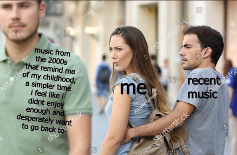 distracted girlfriend meme about preferring music from your childhood over newer music